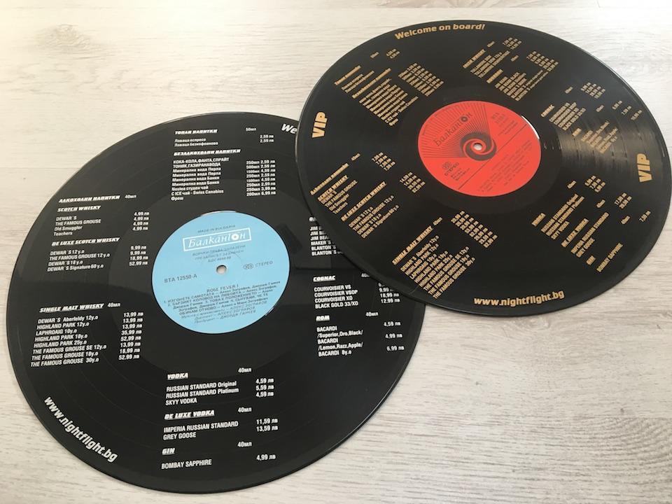 Screen Printed Menu Vinyl Record